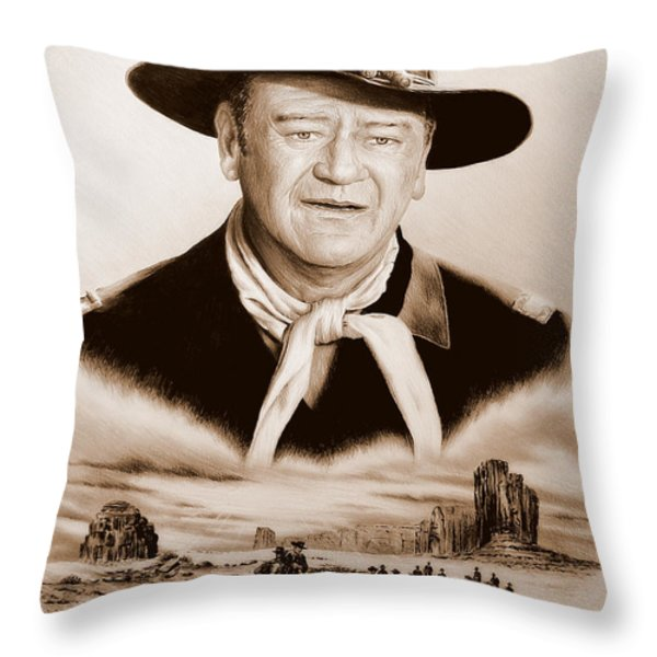 John Wayne Us Cavalry Throw Pillow by Andrew Read