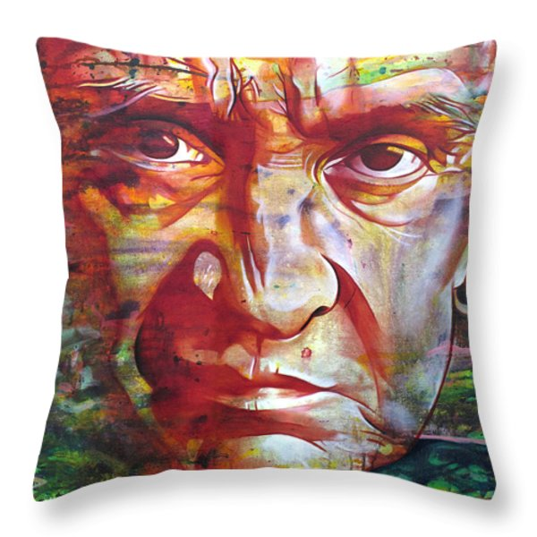 Johnny Cash Throw Pillow by Joshua Morton