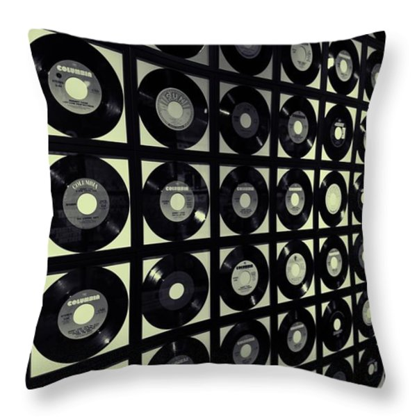 Johnny Cash Vinyl Records Throw Pillow by Dan Sproul