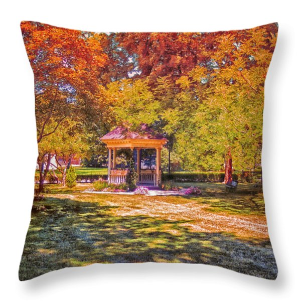 Join Me In The Gazebo On This Beautiful Autumn Day Throw Pillow by Thomas Woolworth