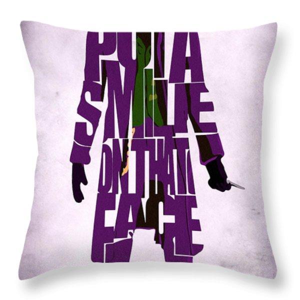 Joker - Heath Ledger Throw Pillow by Ayse Deniz