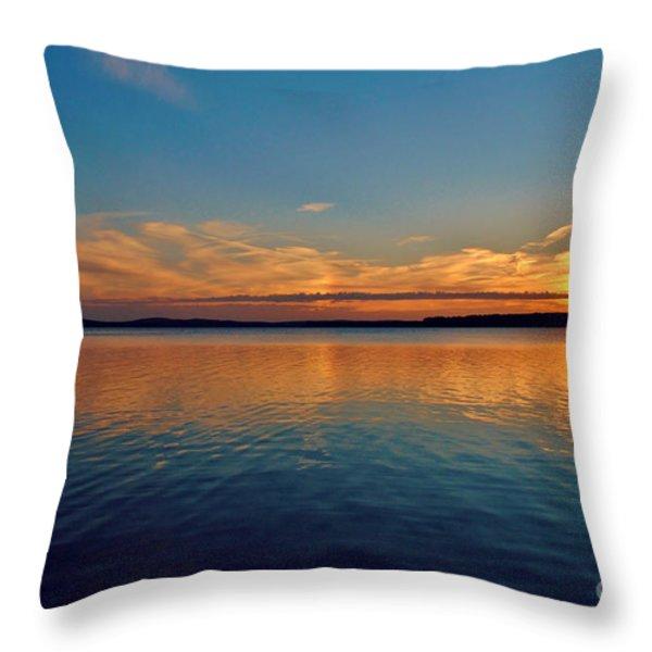 Jordan Lake Sunset 2 Throw Pillow by Kelly Nowak