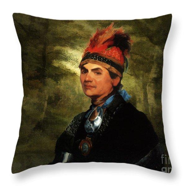 Joseph Brant After Stuart Throw Pillow by Lianne Schneider
