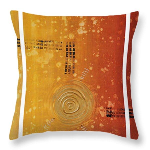 Journey To Zen - Earth Tone Yellow Burnt Orange Art Painting Throw Pillow by Sharon Cummings