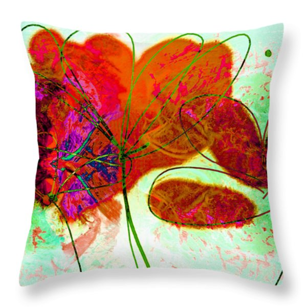 Joy Flower Abstract Throw Pillow by Ann Powell