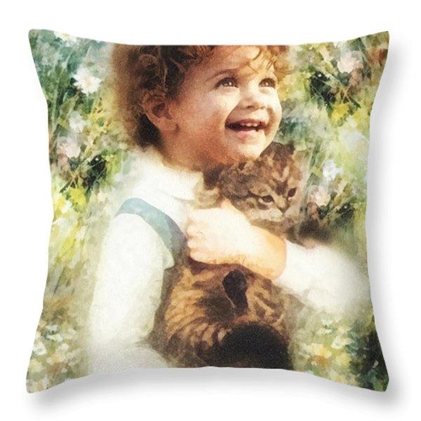 Joy Throw Pillow by Mo T