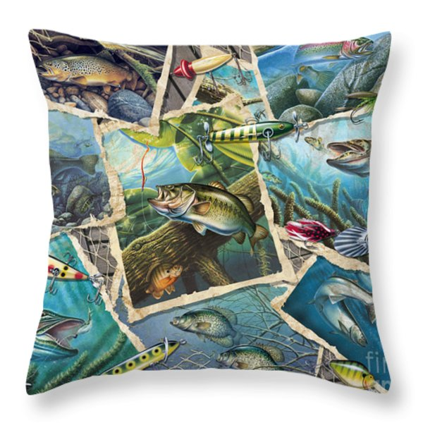 JQ's Fishing Collage Throw Pillow by Jon Q Wright
