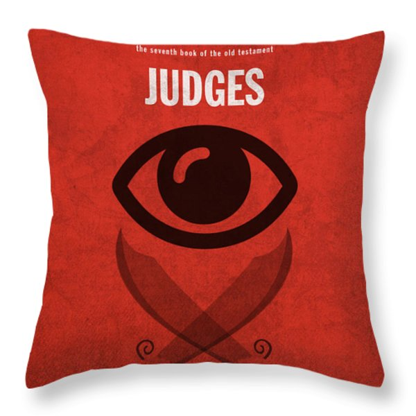 Judges Books of the Bible Series Old Testament Minimal Poster Art Number 7 Throw Pillow by Design Turnpike