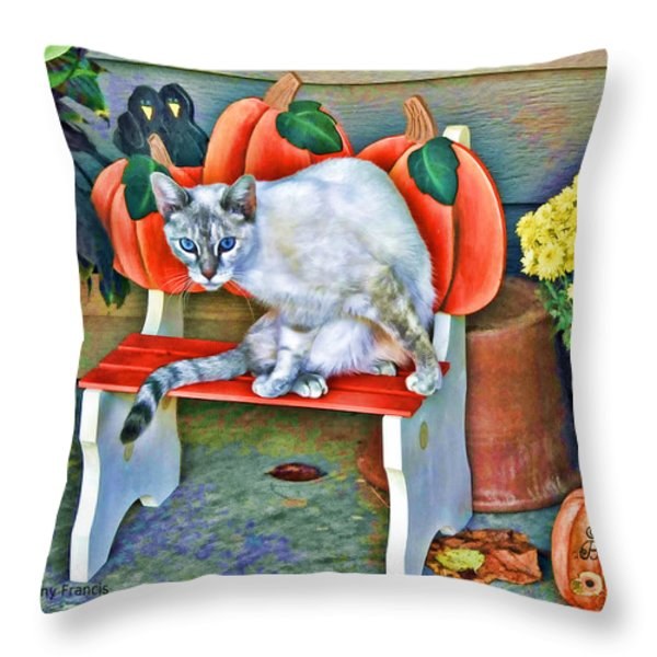 Judy Blue Eyes Throw Pillow by Kenny Francis