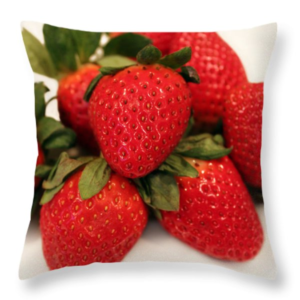 Juicy Strawberries Throw Pillow by Barbara Griffin