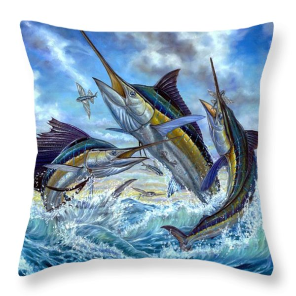 Jumping Grand Slam And Flyingfish Throw Pillow by Terry  Fox