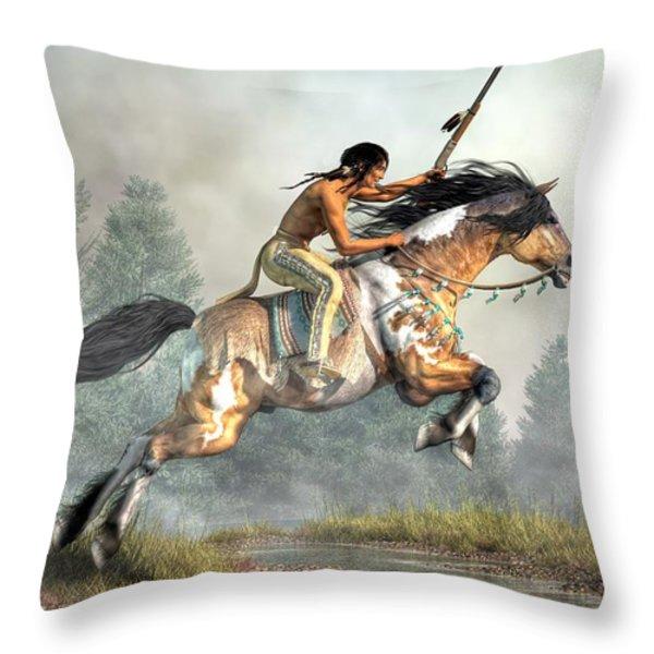 Jumping Horse Throw Pillow by Daniel Eskridge