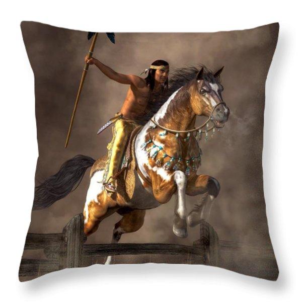 Jumping Mustang Throw Pillow by Daniel Eskridge
