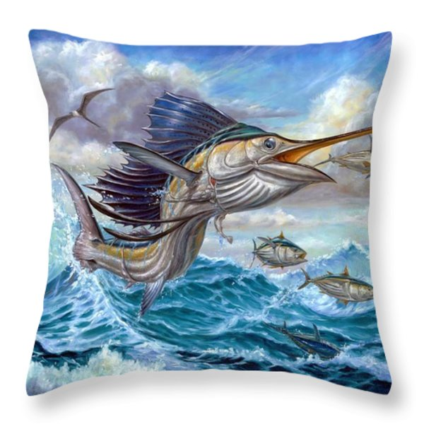 Jumping Sailfish And Small Fish Throw Pillow by Terry Fox