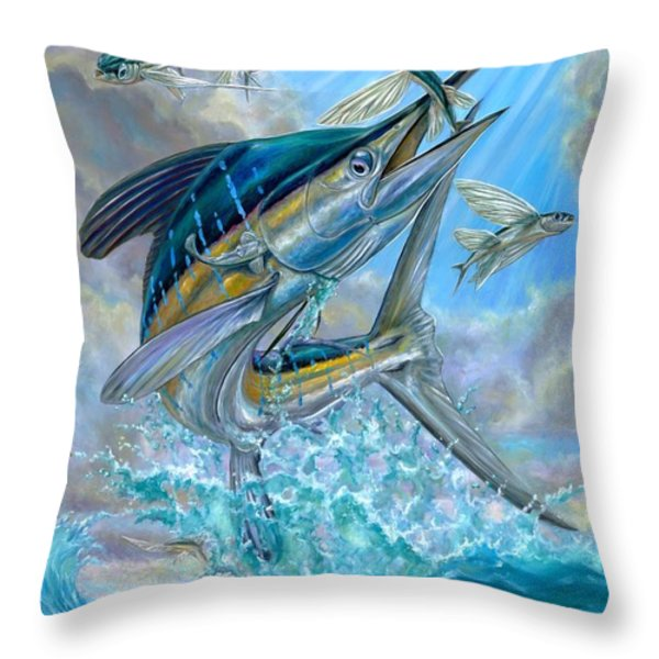 Jumping White Marlin And Flying Fish Throw Pillow by Terry Fox