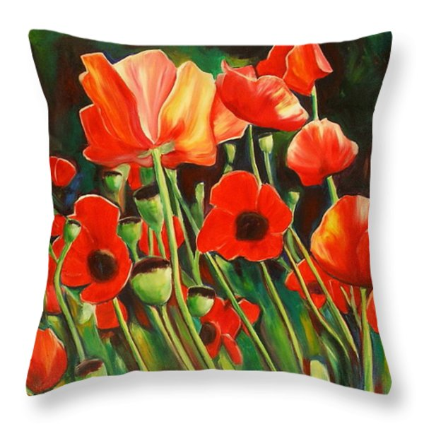 June Wearing Red Throw Pillow by Sheila Diemert