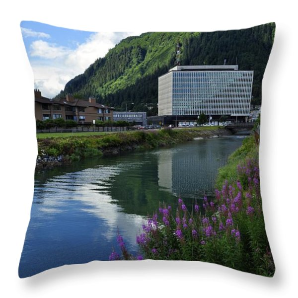 Juneau Federal Building Throw Pillow by Cathy Mahnke