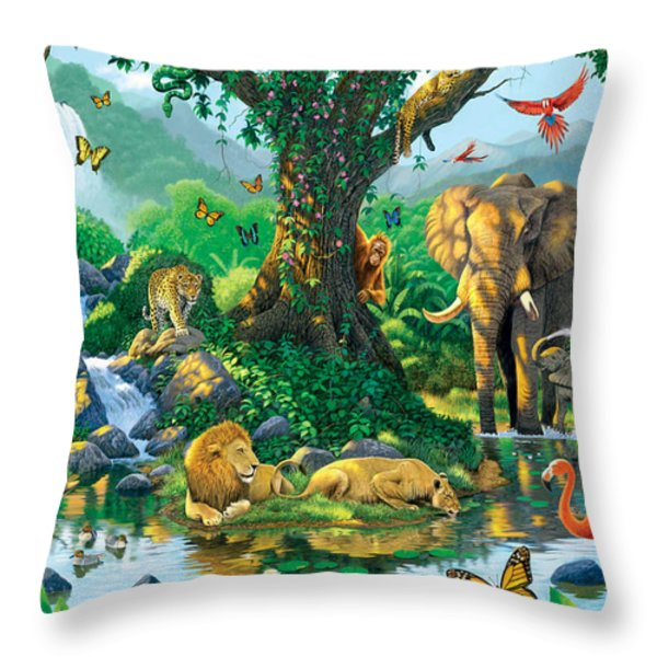 Jungle Harmony Throw Pillow by Chris Heitt
