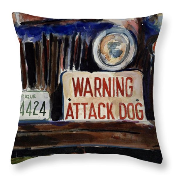 Junkyard Dog Throw Pillow by Molly Poole