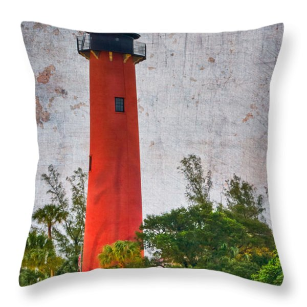 Jupiter Lighthouse Throw Pillow by Debra and Dave Vanderlaan