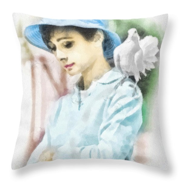 Just Audrey Throw Pillow by Mo T