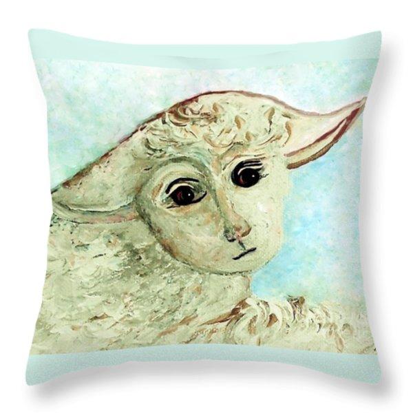 Just One Little Lamb Throw Pillow by Eloise  Schneider