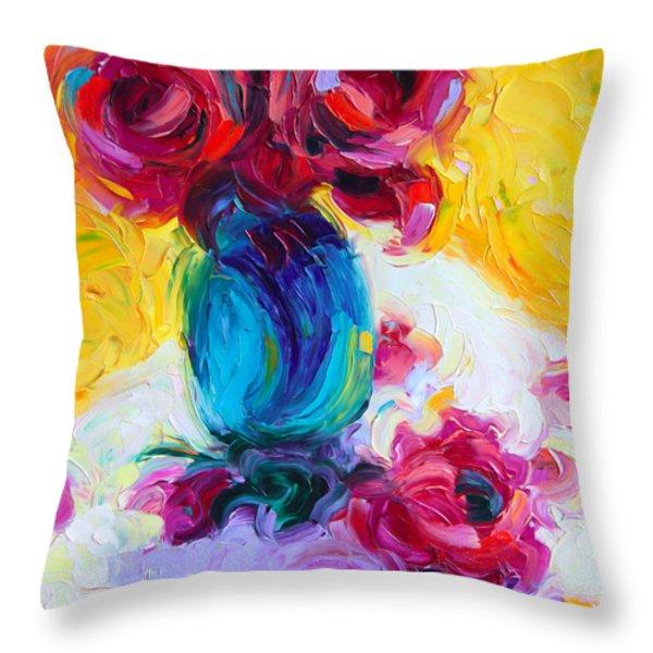 Just Past Bloom - roses still life Throw Pillow by Talya Johnson