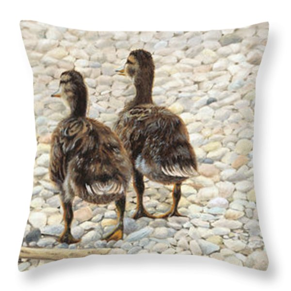 Just Waddling Throw Pillow by Tammy  Taylor