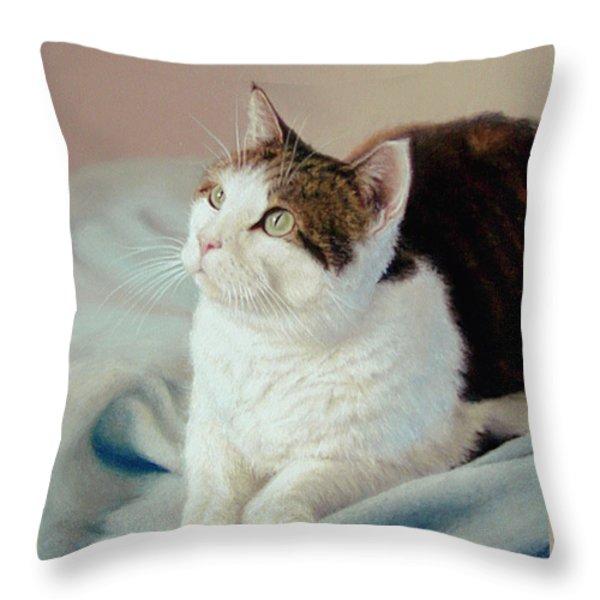 K C  Kitty Cat Throw Pillow by Barbara Groff