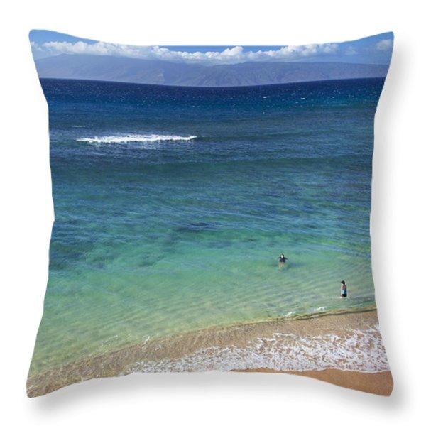 Kaanapali Ocean Aerial Throw Pillow by Jenna Szerlag