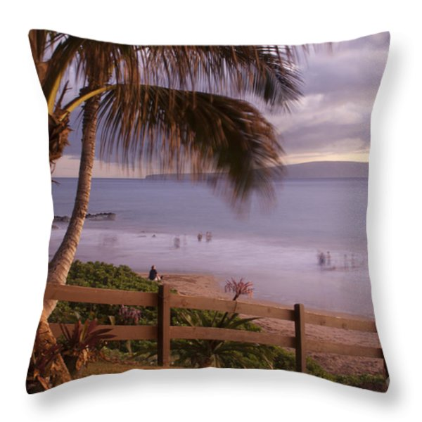 Kai Makani Hoohinuhinu O Kamaole - Kihei Maui Hawaii Throw Pillow by Sharon Mau
