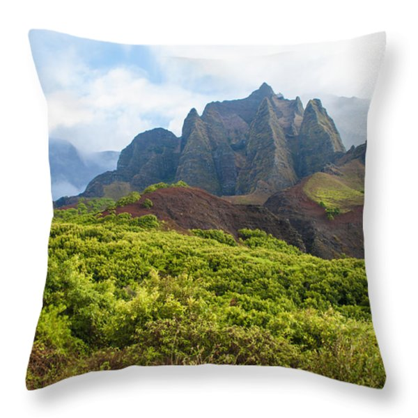 Kalalau Valley - Kauai Hawaii Throw Pillow by Brian Harig
