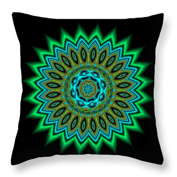 Kaleidoscope 1 Blues And Greens Throw Pillow by Faye Giblin
