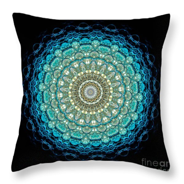 Kaleidoscope Aquamarine Bubbles Throw Pillow by Amy Cicconi