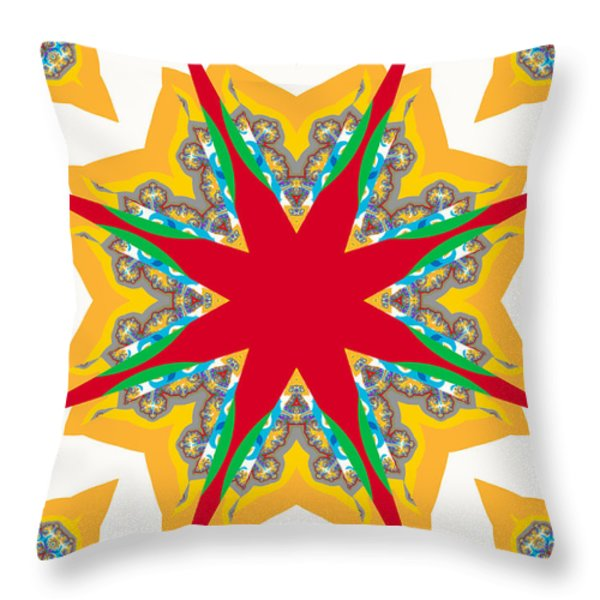Kaleidoscope Fractal Throw Pillow by Ester  Rogers
