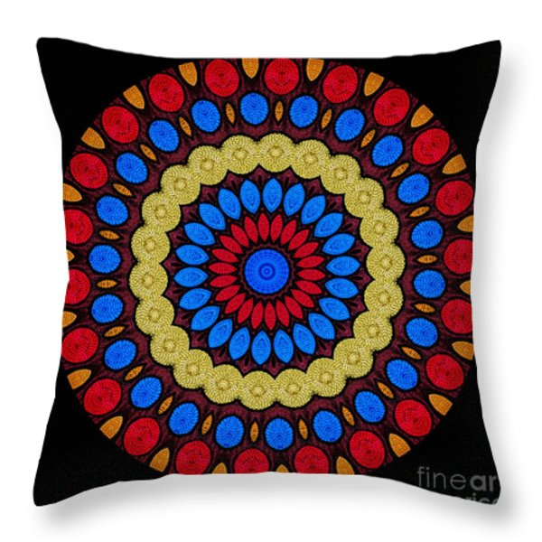 Kaleidoscope of Colorful Embroidery Throw Pillow by Amy Cicconi