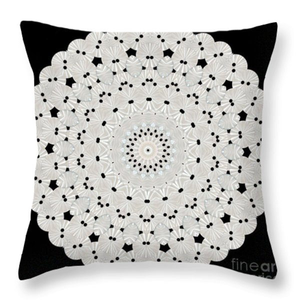 Kaleidoscope Of White Buttons Throw Pillow by Becky Hayes