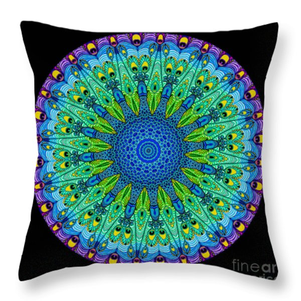 Kaleidoscope Peacock Throw Pillow by Amy Cicconi