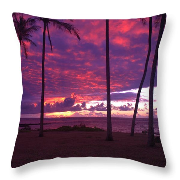 Kapaa Kauai Sunrise Throw Pillow by Brian Harig