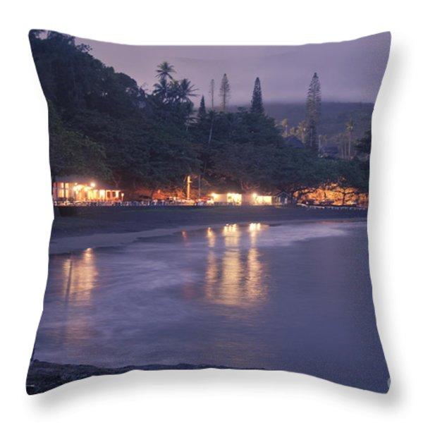 Kapueokahi - Hana Bay - Sunset Hana Maui Hawaii Throw Pillow by Sharon Mau