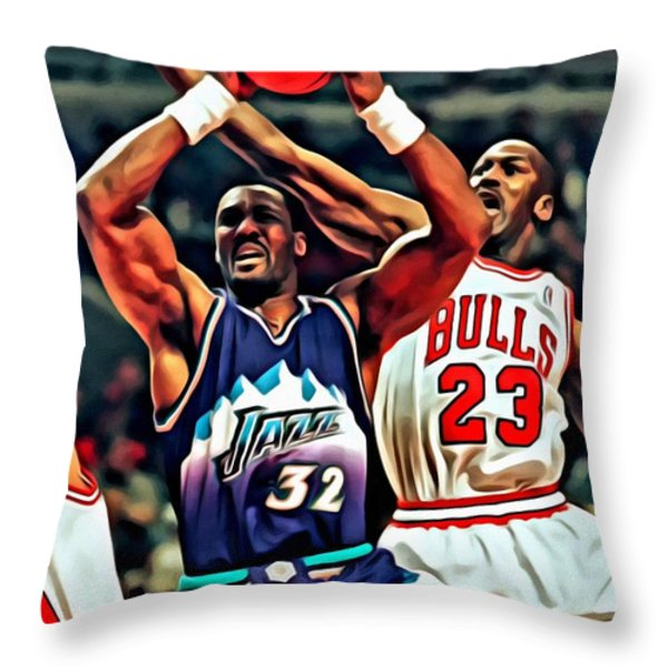 Karl Malone vs. Michael Jordan Throw Pillow by Florian Rodarte