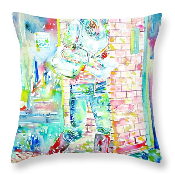 KATE MIDDLETON PORTRAIT.3 WALKING IN THE STREET Throw Pillow by Fabrizio Cassetta