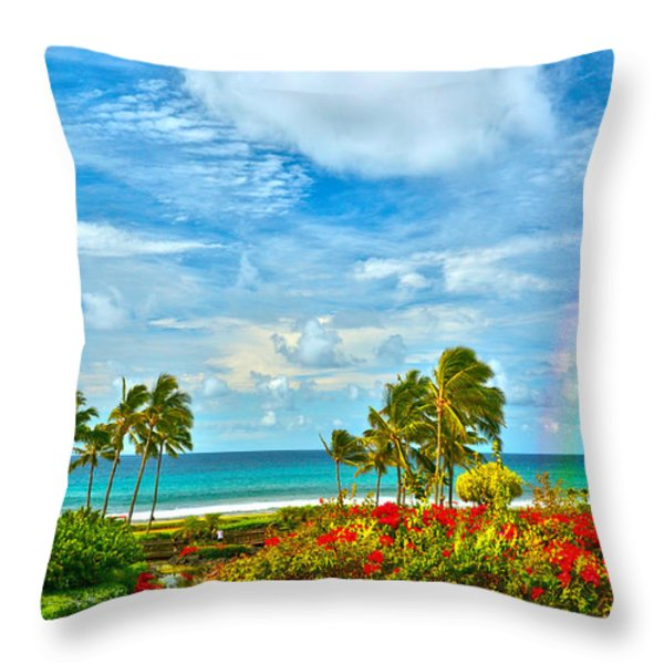 Kauai Bliss Throw Pillow by Marie Hicks