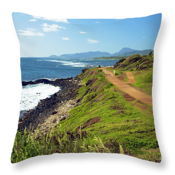 Kauai Coast Throw Pillow by Kicka Witte