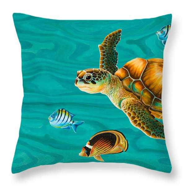 Kauila Sea Turtle Throw Pillow by Emily Brantley