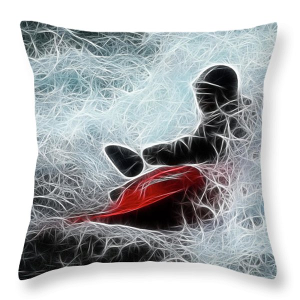 Kayaker 2 Throw Pillow by Bob Christopher
