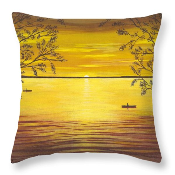 Kayaks In Golden Sunset Throw Pillow by Cyndi Kingsley