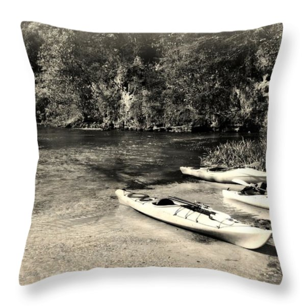 Kayaks On The Current Throw Pillow by Marty Koch