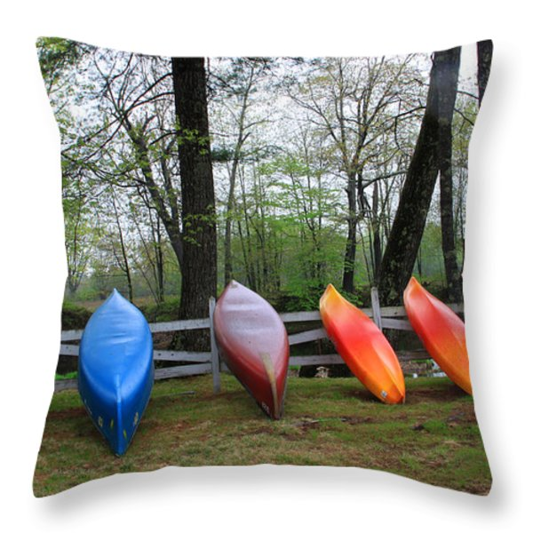 Kayaks Waiting Throw Pillow by Michael Mooney