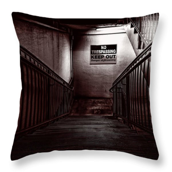 Keep Out Danger Of Drowning Throw Pillow by Bob Orsillo